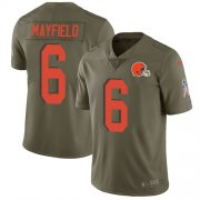 Wholesale Cheap Nike Browns #6 Baker Mayfield Olive Youth Stitched NFL Limited 2017 Salute to Service Jersey