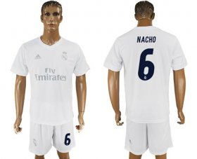 Wholesale Cheap Real Madrid #6 Nacho Marine Environmental Protection Home Soccer Club Jersey