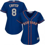 Wholesale Cheap Mets #8 Gary Carter Blue(Grey NO.) Alternate Women's Stitched MLB Jersey