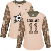 Cheap Adidas Stars #11 Andrew Cogliano Camo Authentic 2017 Veterans Day Women's Stitched NHL Jersey