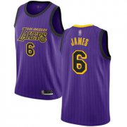 Cheap Youth Lakers #6 LeBron James Purple Basketball Swingman City Edition 2018-19 Jersey
