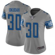 Wholesale Cheap Nike Lions #30 Jeff Okudah Gray Women's Stitched NFL Limited Inverted Legend Jersey