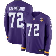 Wholesale Cheap Nike Vikings #72 Ezra Cleveland Purple Team Color Men's Stitched NFL Limited Therma Long Sleeve Jersey