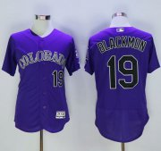 Wholesale Cheap Rockies #19 Charlie Blackmon Purple Flexbase Authentic Collection Stitched MLB Jersey