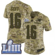 Wholesale Cheap Nike Rams #16 Jared Goff Camo Super Bowl LIII Bound Women's Stitched NFL Limited 2018 Salute to Service Jersey