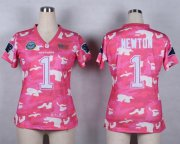 Wholesale Cheap Nike Panthers #1 Cam Newton Pink Women's Stitched NFL Elite Camo Fashion Jersey