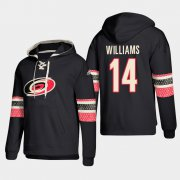 Wholesale Cheap Carolina Hurricanes #14 Justin Williams Black adidas Lace-Up Pullover Hoodie