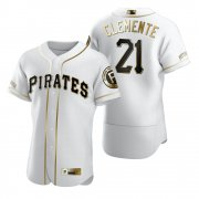 Wholesale Cheap Pittsburgh Pirates #21 Roberto Clemente White Nike Men's Authentic Golden Edition MLB Jersey