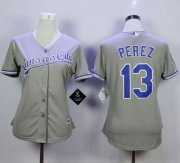 Wholesale Cheap Royals #13 Salvador Perez Grey Road Women's Stitched MLB Jersey