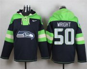 Wholesale Cheap Nike Seahawks #50 K.J. Wright Steel Blue Player Pullover NFL Hoodie