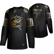 Wholesale Cheap Adidas Blue Jackets #71 Nick Foligno Men's 2019 Black Golden Edition Authentic Stitched NHL Jersey