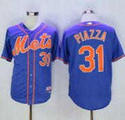 Wholesale Cheap Mets #31 Mike Piazza Blue Alternate Home 2016 Hall Of Fame Patch Stitched MLB Jersey