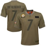 Wholesale Cheap Youth Pittsburgh Steelers #7 Ben Roethlisberger Nike Camo 2019 Salute to Service Game Jersey