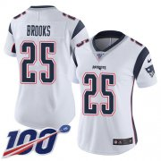Wholesale Cheap Nike Patriots #25 Terrence Brooks White Women's Stitched NFL 100th Season Vapor Limited Jersey