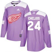 Wholesale Cheap Adidas Red Wings #24 Chris Chelios Purple Authentic Fights Cancer Stitched NHL Jersey