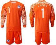 Wholesale Cheap Chile #1 C.Bravo Orange Goalkeeper Long Sleeves Soccer Country Jersey