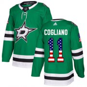 Cheap Adidas Stars #11 Andrew Cogliano Green Home Authentic USA Flag Youth Stitched NHL Jersey
