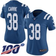 Wholesale Cheap Nike Colts #38 T.J. Carrie Royal Blue Team Color Women's Stitched NFL 100th Season Vapor Untouchable Limited Jersey