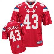Wholesale Cheap Steelers #43 Troy Polamalu 2011 Red Pro Bowl Stitched NFL Jersey