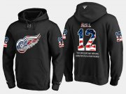 Wholesale Cheap Red Wings #12 Sid Abel NHL Banner Wave Usa Flag Black Hoodie