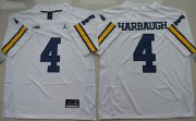 Wholesale Cheap Men's Michigan Wolverines #4 Jim Harbaugh White Stitched NCAA Brand Jordan College Football Jersey