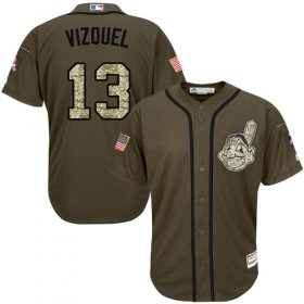 Wholesale Cheap Indians #13 Omar Vizquel Green Salute to Service Stitched MLB Jersey