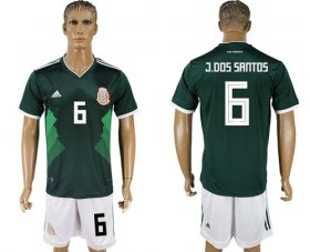 Wholesale Cheap Mexico #6 J.Dos Santos Green Home Soccer Country Jersey