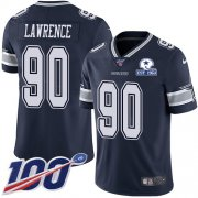 Wholesale Cheap Nike Cowboys #90 DeMarcus Lawrence Navy Blue Team Color Men's Stitched With Established In 1960 Patch NFL 100th Season Vapor Untouchable Limited Jersey
