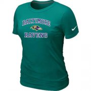 Wholesale Cheap Women's Nike Baltimore Ravens Heart & Soul NFL T-Shirt Light Green