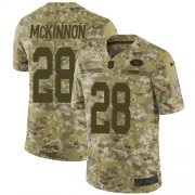 Wholesale Cheap Nike 49ers #28 Jerick McKinnon Camo Youth Stitched NFL Limited 2018 Salute to Service Jersey