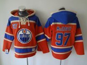 Wholesale Oilers #97 Connor McDavid Orange Sawyer Hooded Sweatshirt Stitched NHL Jersey