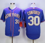 Wholesale Cheap Mets #30 Michael Conforto Blue(Grey NO.) Alternate Road Cool Base Stitched MLB Jersey