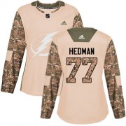 Wholesale Cheap Adidas Lightning #77 Victor Hedman Camo Authentic 2017 Veterans Day Women's Stitched NHL Jersey