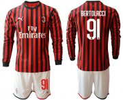 Wholesale Cheap AC Milan #91 Bertolacci Home Long Sleeves Soccer Club Jersey