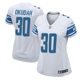 Wholesale Cheap Nike Lions #30 Jeff Okudah White Women\'s Stitched NFL Elite Jersey