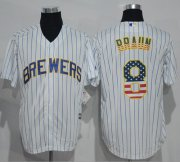 Wholesale Cheap Brewers #8 Ryan Braun White(Blue Strip) USA Flag Fashion Stitched MLB Jersey
