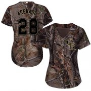 Wholesale Cheap Rockies #28 Nolan Arenado Camo Realtree Collection Cool Base Women's Stitched MLB Jersey