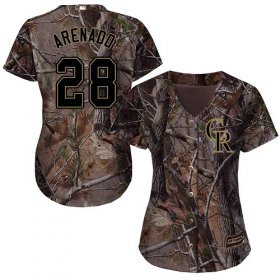 Wholesale Cheap Rockies #28 Nolan Arenado Camo Realtree Collection Cool Base Women\'s Stitched MLB Jersey