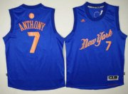 Wholesale Cheap Men's New York Knicks #7 Carmelo Anthony Adidas Royal Blue 2016 Christmas Day Stitched NBA Swingman Jersey