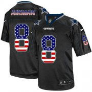 Wholesale Cheap Nike Cowboys #8 Troy Aikman Black Men's Stitched NFL Elite USA Flag Fashion Jersey