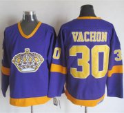 Wholesale Cheap Kings #30 Rogie Vachon Purple/Yellow CCM Throwback Stitched NHL Jersey