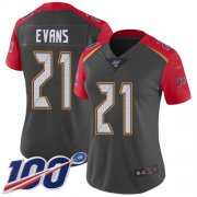 Wholesale Cheap Nike Buccaneers #21 Justin Evans Gray Women's Stitched NFL Limited Inverted Legend 100th Season Jersey