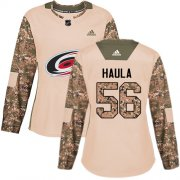 Wholesale Cheap Adidas Hurricanes #56 Erik Haula Camo Authentic 2017 Veterans Day Women's Stitched NHL Jersey