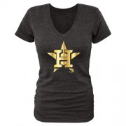 Wholesale Cheap Women's Houston Astros Fanatics Apparel Gold Collection V-Neck Tri-Blend T-Shirt Black