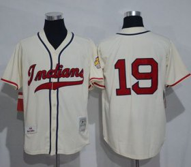Wholesale Mitchell And Ness 1948 Indians #19 Bob Feller Cream Stitched Throwback Baseball Jersey