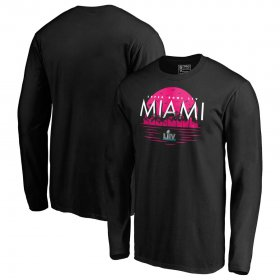 Wholesale Cheap NFL Miami Super Bowl LIV Sunset Long Sleeve T-Shirt Black