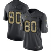 Wholesale Cheap Nike 49ers #80 Jerry Rice Black Youth Stitched NFL Limited 2016 Salute to Service Jersey