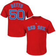 Wholesale Cheap Boston Red Sox #50 Mookie Betts Majestic Official Name and Number T-Shirt Red
