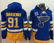 Wholesale Cheap Blues #91 Vladimir Tarasenko Light Blue Name & Number Pullover NHL Hoodie
