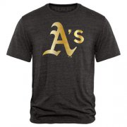 Wholesale Cheap Oakland Athletics Fanatics Apparel Gold Collection Tri-Blend T-Shirt Black